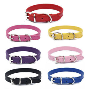 Puppy Pet Small Dog Adjustable PU Leather Buckle Collar Neck Strap Decor