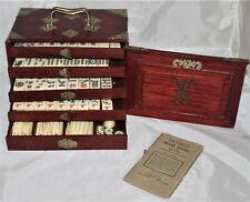 Antique 1920s Mahjong Set Bone & Bamboo Complete 144 Tiles 121 Sticks in Case