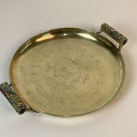 VTG Round Engraved Handmade Brass Tray Serving Polished 7817