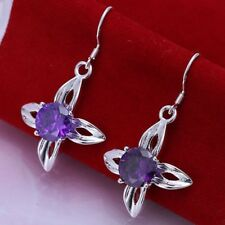 ASAMO Damen Ohrhänger mit lila Stein Ohrringe 925 Sterling Silber plattiert
