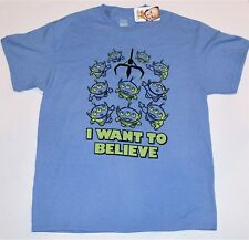 Disney Pixar Toy Story Little Green Men Alien Want To Believe T Shirt Large NEW