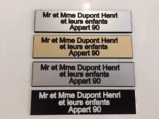 Plaque de boite aux lettres 3 lignes 10x2.5 cm gravure laser couleurs aux choix