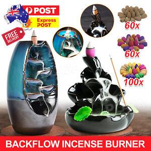 Incense Burner Mountain Waterfall Smoke Backflow Ceramic Cone Holder +110 Cones