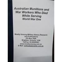 WW1 Australian Munitions Worker and War Worker Honour Roll WW1