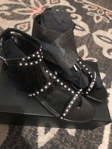 Ysl New Saint Laurent Fringe Silver Studded Black Leather Sandals 40 (9.5)