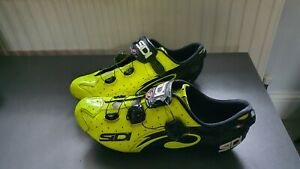 SIDI Wire Carbon Road Cycling Shoes Bike Shoes Yellow Fluo/Black Size 46