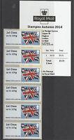 GB 2014 MNH Autumn Stampex Union Flag 6v 1st Class Strip A003 B9GB14