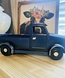 FARMHOUSE FARM TRUCK Style Blue Metal Pick Up Planter NEW Blue Truck Rustic (O6)