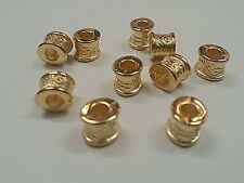 Opaque Carved CCB Acrylic Column Beads, Golden, 7.5x8.5x8mm, Hole: 3.5 - 4 mm