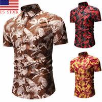Hot Hawaiian Shirt Mens Flower Print Beach Aloha Party Rich Holiday clothes US