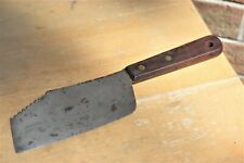 Vintage Unbranded Meat Cleaver Tenderizer Wood Handle Brass Rivets
