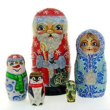 5 Poupées russes H17 peint main signé Matriochka Père NOEL Nested Doll Art Russe