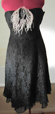 M&S ~Per Una ~Black Lace Strapless Dress With Feathered Brooch Accent ~ size 14L