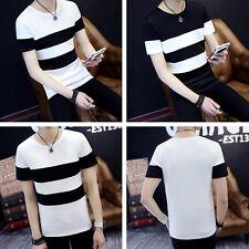 Mens Black and White Striped T-Shirt Summer Casual Short Sleeve Shirt Tops TeesA