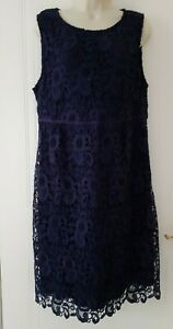 EAST Womens Smart Work Party Lace Navy Dress Pencil Size 16~New