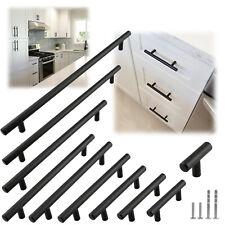 Matte Black Modern Cabinet Handles Pulls Kitchen Drawer Stainless Steel Hardware