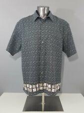 Sears Fieldmaster Vintage Men Linen Black White Short Sleeve Button Up Shirt 2XL