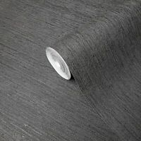 Charcoal Black Faux Grasscloth lines wallpaper Textured plain wallcoverings