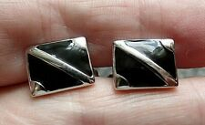 New Chunky Sterling Silver & Black Enamel Cuff Links 8.0g