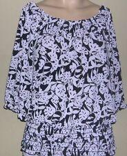 JON DEN Size S Jersey  Tunic Top  Black&White Elastic Neckline,Cuffs,& Bottom