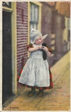 "*Netherlands Postcard-""Little Girl Holds Small Animal"" ...Holland/"