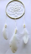 white colour dream catcher with faux pearls 100mm decor feathers