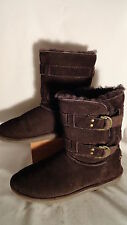 Bearpaw Quinn II, Dk. Brown, Suede, Shearling Lined, Buckles, Boots, Womens 10