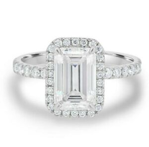 2.77 TCW Emerald Cut Moissanite Halo Engagement Ring In 14k White Gold Plated