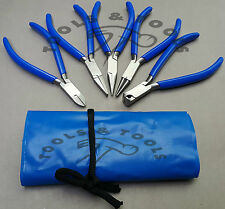 """NEW 5 PCS PLIERS KIT/ SET 4.5"""" JEWELRY MAKING CRAFTS WIRES BLUE HANDLES+ POUCH"""