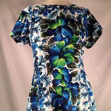 Hawaiian Aloha Dress Sz Med Full Length Pleated Waterfall Back Flowers Vtg USA