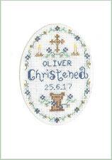 Blue Christening Cross stitch card - complete kit with COLOUR chart on 16 aida