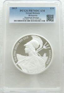 2015 Britannia £10 Ten Pound Silver Proof 5oz Coin PCGS PR70 DCAM