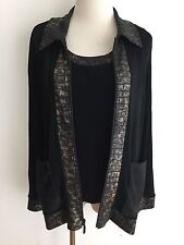 CHICO'S TRAVELERS Twinset  Zipper Cardigan & Cami Black w/Bronze Gray Black Sz 1