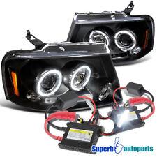 2004-2008 Ford F150 Dual Halo LED Projector Headlights Black+H1 Slim HID Kit