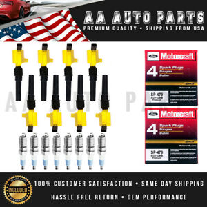8PCS Yellow Ignition Coil DG508 & SP479 MotorCraft SparkPlug For Ford Expedition