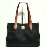 DOONEY & BOURKE Medium Black Coated Canvas & Brown Leather Hobo Purse