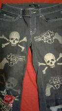 Boho Grunge 'Style' Distressed Prana Jeans Bleached Out Guns Skulls Patched Sz 4