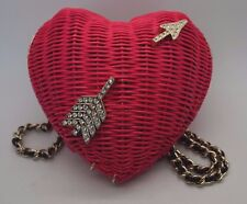 KATE SPADE Pink Wicker Arrow Heart Clutch Crossbody Purse RARE Sample