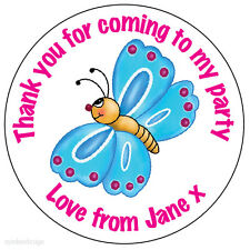 70 x Personalised Butterfly Happy Birthday Party Bag Stickers Celebration 216