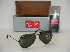 Ray-Ban 3026 AVIATOR BLACK FRAME RB 3026 L2821 62mm GREEN G-15  LARGE METAL II