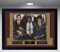 Messi Neymar Jr Pele signed autograph Framed pre-print Football photo picture