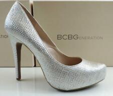 5c81a6909a57 BCBG BCBGeneration Parade Platform HEELS PUMPS Silver Metallic Raffia Size  10