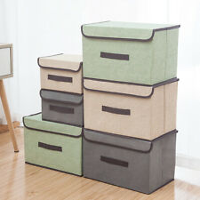 Home Folding Container Organizer Storage Box Basket Snacks Sundries Cotton Linen