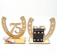 75 Geburtstag, Geldgeschenk, Hufeisen aus Holz mit Glückwunsch Gravur 16 cm