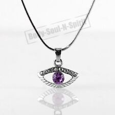 Purple Evil Eye Amulet Necklace Good Charm Success Protection Judaica Spiritual