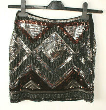 Mini Skirt Sequin Beaded Black Silver Brown Party Embellished Gatsby 20s H&M 6