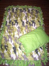 "*Green Camouflage*Custom Handmade Tied Fleece THROW 40x26"" w/Pillow  GIFT"