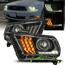 For 2010-2012 Ford Mustang LED Sequential Projector Polished Black Headlights