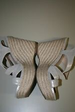 Women's Via Spiga platform Sandales leather Yellow/White Size 8M US stk A