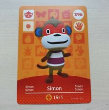 Simon #396 Animal Crossing Amiibo CARD ufficiale Nintendo nuovo orizzonte SERIE 4